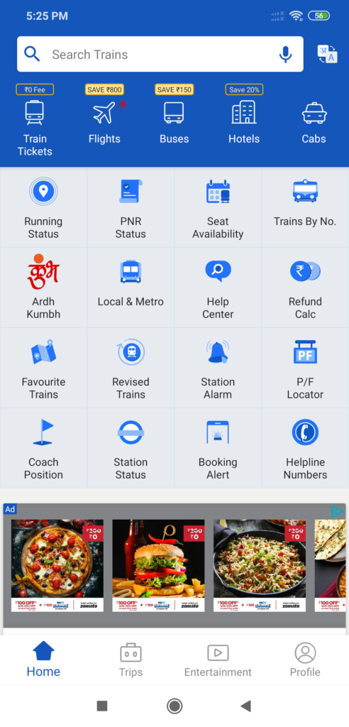 IXIGO Indian Rialway App
