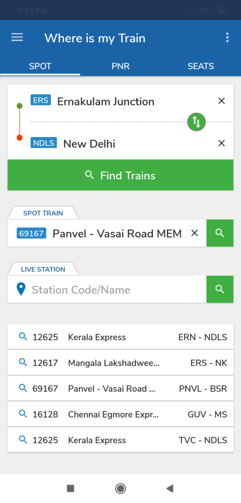Where is my Train Indian Railway App
